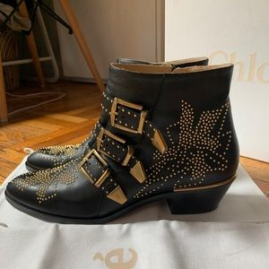 CHLOE SUSANNA BLACK STUDDED ANKLE BOOTS SIZE 39.5